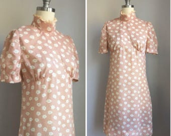 Mod Vintage 1960's Basketweave and Floral Print A Line Baby Doll Dress Size Small Medium