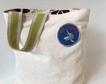 Canvas Tote Bag/ Handbag/ Purse/ Vintage Patch