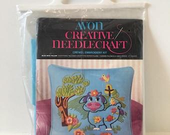 Vintage Avon Embroidery Pillow Kit/ Blue Moo Pillow/ 1973/ Pillow