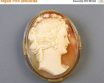 ANNUAL CAMEO SALE Antique Edwardian 14k gold cameo brooch pin pendant