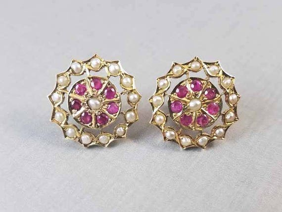 Vintage 18k gold ruby and seed pearl threaded safety screw down post pierced halo earrings