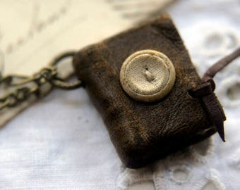 The Dressmaker - Miniature Wearable Book, Dark Brown, Antique Button, Aged Paper - OOAK