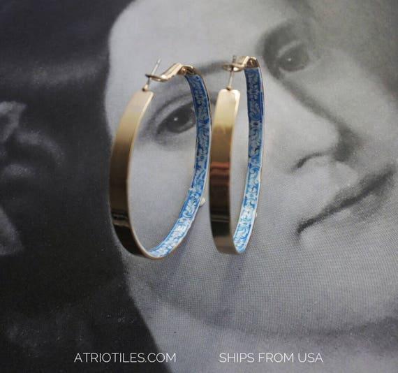 "Portugal  Antique Azulejo Tile HOOP Earrings University of Evora - Hidden Treasure - Delicate 2"""