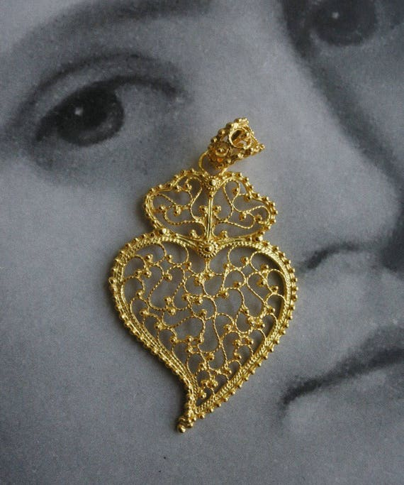 Portugal Silver Filigree Pendant Heart of Viana Minho 24 k Gold Bath Gift Box Included Made in Portugal Ships from USA