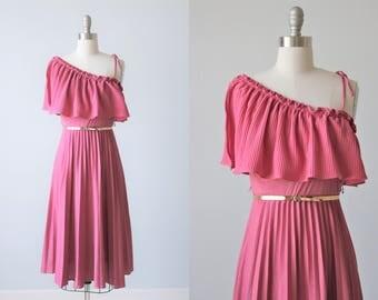 1970s One Shoulder Sundress / 1970s Fashion / Disco Dress/ Size S
