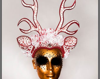 This Little Deer... Bloody Deer Headdress with Deer Ears and Antlers In White With Red Acccents and Rhinestones
