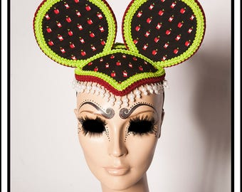 Apple Love.... Apple Themed Mouse Ears With Lime Green and Burgundy Trim and Pearl Beads Fascinator Headdress