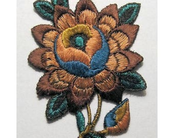 Vintage Silk Applique Art Deco Flower