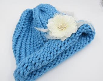 Charlotte Blue Cloche Adult Hand Knit Hat with Removable Coral Color Flower Clip Ready to Ship