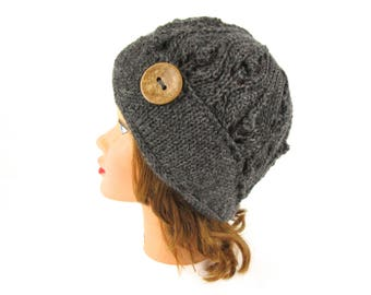 Gray Cloche With Button - Wool Beanie - Lace Knit Flapper Hat - 1920s Cloche Hat - Women's Cloche - Charcoal Hat - Knit Accessories