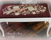 vintage French vanity bench barbola roses ~ piano bench ~ storage inside!  French horn ROSES music theme needlepoint