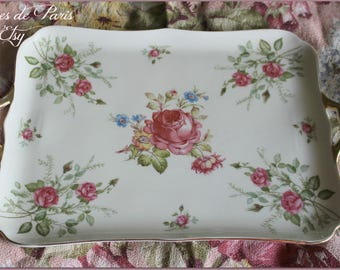 vintage vanity tray  ~ vintage serving tray~  dresser tray with pink roses ~ Shabby and sweet ~ Bavaria