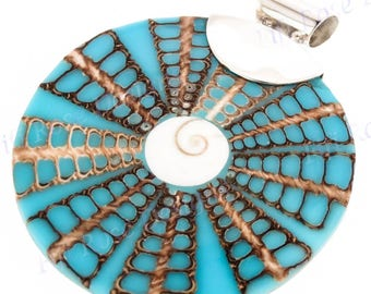 """3"""" Cone Shell In Turquoise Blue 925 Sterling Silver Pendant"""