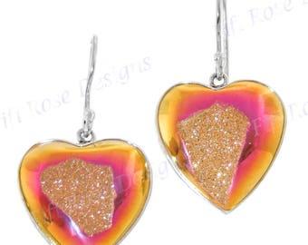 "7/8"" Heart Pink Titanium Druzy Drusy 925 Sterling Silver Earrings"