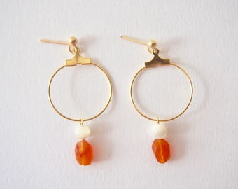 Mother of Pearl & Carnelian Earrings with Plated Metal Hoop in Gold, Clip On/Hooks/Studs