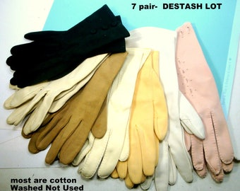 Destash LOT of 7 Pair Vintage 1950s 1960s Gloves, Small Ladies Size, Unworn But Washed, Some Handstitched, Mostly Cotton USA, Price for ALL