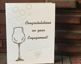 Congratulations on your Engagement! Letterpress printed engagement card, blank inside