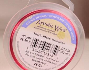 Artistic wire 28 gauge: silver-plated, copper core, peach color
