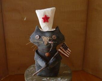 PRIMITIVE-CAT-BLACK-Patriotic-Americana-Flag-July 4th-prim decor-folk art