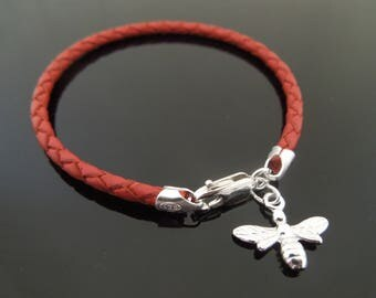 3mm Red Braided Leather Bracelet With 925 Sterling Silver Bumble Bee Charm