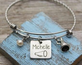 Cheerleader Name Charm Bangle Bracelet