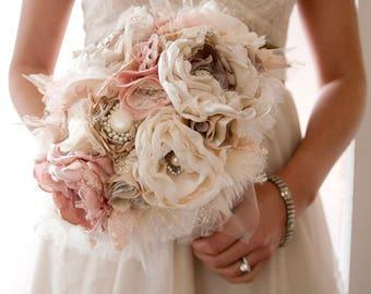 Custom Brooch Bouquet, Fabric wedding bouquet Deposit for Sylvia