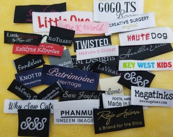 Free Shipping 100pcs Customized Woven Labels (Made in Hong Kong) for Boutique, Hoods, Tee, Hat, Shirt, Dress, James, Tops, Bottoms, Pants