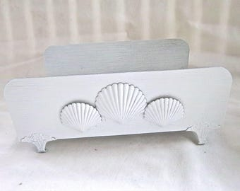 Vintage Aluminum Painted White Nautical Holder for Facial Tissue Box Metal Clam Shell Nautical Tissue Holder Home and Living Storage Decor