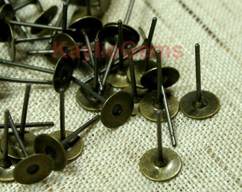Earring Stud Post 6mm Pad  12mm Long Antique Brass