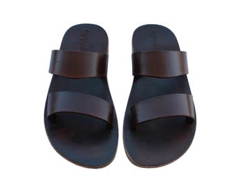 CLEARANCE SALE - Dark Brown Bio Leather Sandals - All Leather Sole  - Euro # 39 - Handmade Unisex Sandals, Genuine Leather, Sale