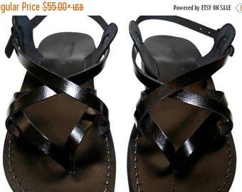 15% OFF Black Mix Leather Sandals For Men & Women - Handmade Unisex Sandals, Flip Flop Sandals, Jesus Sandals, Genuine Black Leather Sandals