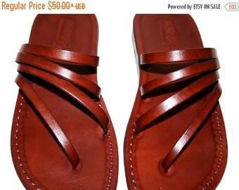 15% OFF Brown Rainbow Leather Sandals For Men & Women - - Handmade Unisex Sandals, Flip Flop Sandals, Jesus Sandals, Genuine Leather Sandals