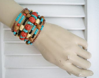 One Wrap bracelet - Bohemian style - Large carved wood beads - bone, seed, turquoise beads - Boho chic - Memory wire -  bycat