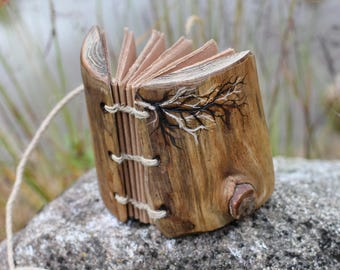 Rustic wood journal with branch design small guestbook