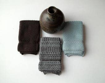 Dishcloths Knit in Cotton in Deep Brown and Cape Blue, Knit Washcloths, Wash Cloth, Dish Cloth