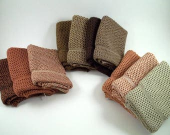 Knit Dishcloths/Washcloths in Cotton in a Brown Bundle, Knit Washcloths, Wash Cloth, Dish Cloth