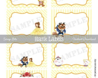 Instant Download . Printable Beauty and the Beast Labels, Printable Blank Favor Tags, Belle Food Labels, Beauty and the Beast Food Labels