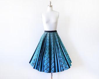 50s Mexican circle skirt, vintage 1950s skirt, blue black striped metallic gold fiesta skirt, cotton full skirt, Maya de Mexico, medium m