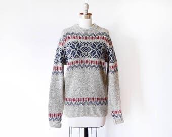 vintage snowflake sweater, 80s LL Bean wool sweater, gray + navy pullover knit, 1980s ski sweater, medium m