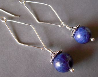 Blue Sodalite Earring, Long Dangle Earring, Hand Forged, Argentium Silver, Bali Sterling Silver