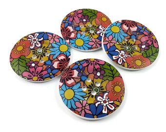 2 inch big buttons - Flower power wooden sewing buttons
