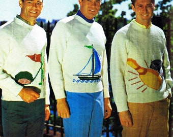 Men's Hobby Sweater Vintage Knitting Pattern Golf Bowling Sailing Charts Pullover Chest Sizes 36 to 46 Inches Digital Pattern Download