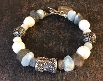 Aquamarine Bracelet, Labradorite Bracelet, Pegasus Bracelet, Freshwater Pearl Bracelet, Chunky Bracelet