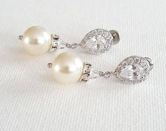 Gold Wedding Pearl Earrings,  CZ & Pearl Bridal Earrings, Rose Gold Wedding Jewelry, Pearl Wedding Earrings