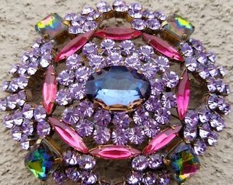 Vintage Pin or Brooch, in Pink & Lilac Crystals, Signed