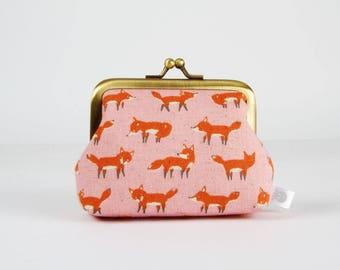 Frame purse - Mini orange foxes on pink - Big Aunty / Kawaii japanese fabric / Gray red pink / Dotties
