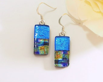 Blue Fused Glass Earrings - Dichroic Glass Jewellery - Blue Gold Fused Glass Earrings - Glass Jewellery - Fired Creations Glass - EE 674