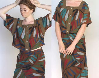 olema -- amazing 80s Pret a Porter Charade brand cotton cropped top and skirt set M