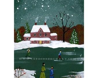 Skating - Original painting by C. Munro