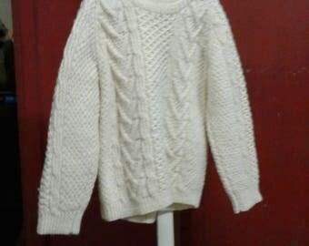 white crochet long sleeve thick